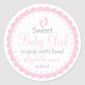 Pink Footprints- Baby Shower Favor Round Sticker