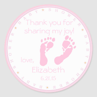 Pink Footprints Baby Shower Round Sticker