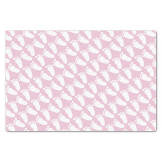 Pink footprints girl baby shower gift tissue paper
