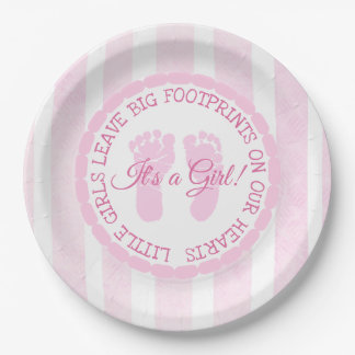 Pink Footprints Girl Baby Shower Paper Plates