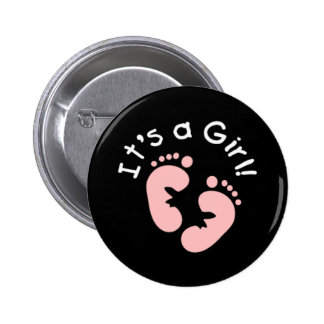 Pink Footprints It's a Girl 6 Cm Round Badge