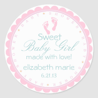 Pink Footprints Sweet Baby Girl Round Sticker