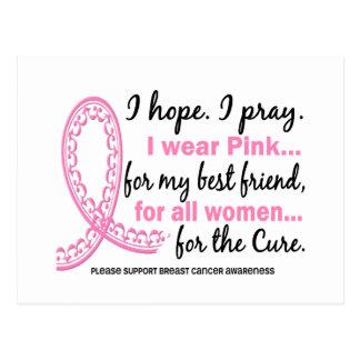 Pink For My Best Friend Filigree Pink Ribbon Postcard