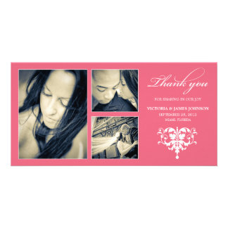 PINK FORMAL COLLAGE | WEDDING THANK YOU CARD CUSTOM PHOTO CARD