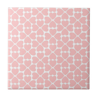 Pink Four Leaf Clover Hearts Ceramic Tile