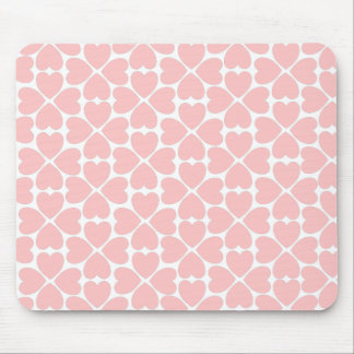 Pink Four Leaf Clover Hearts Mouse Pad