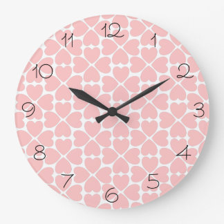 Pink Four Leaf Clover Hearts with Numbers Clock