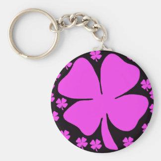 Pink Four Leaf clover Irish design Key Ring