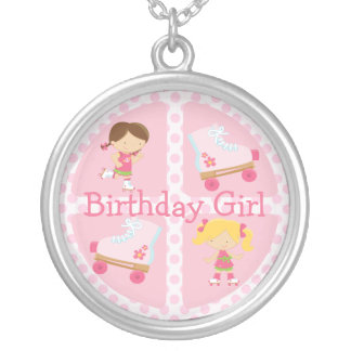 Pink Four Square Rollerskating Birthday Custom Necklace