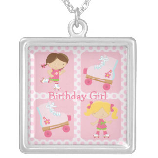 Pink Four Square Rollerskating Birthday Pendants