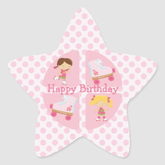 Pink Four Square Rollerskating Birthday Star Sticker