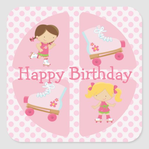 Pink Four Square Rollerskating Birthday Sticker