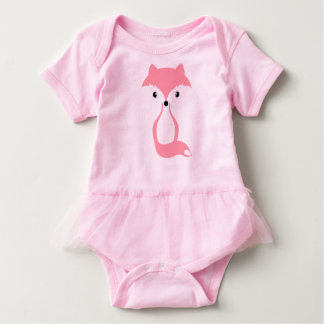 Pink fox baby bodysuit