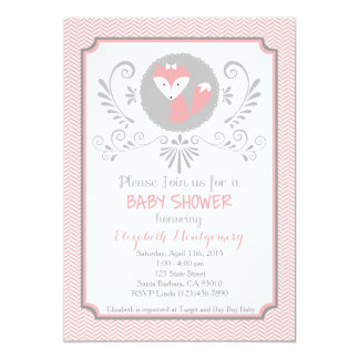 Pink fox baby shower invitation