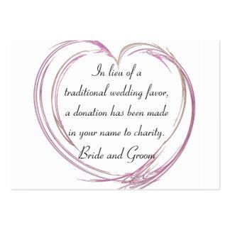Pink Fractal Heart Flat Wedding Charity Favor Card Business Card Template