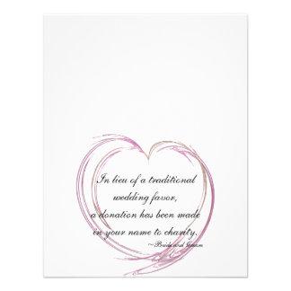 Pink Fractal Heart Wedding Charity Favor Cards