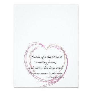 Pink Fractal Heart Wedding Charity Favor Cards Custom Invitations