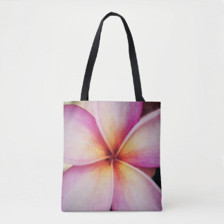 Pink Frangipane Flower All-Over-Print Tote Bag