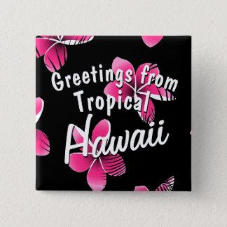 Pink frangipani 15 cm square badge