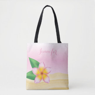 Pink Frangipani Flower With Personalized Name Tote Bag