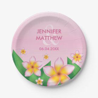 Pink Frangipani Flowers Tropical Wedding Paper Plate