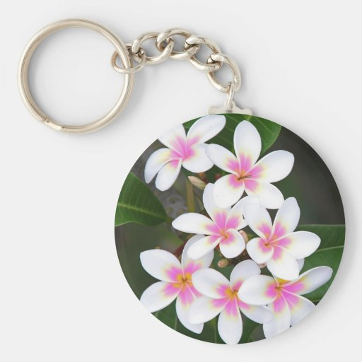pink frangipani key chain