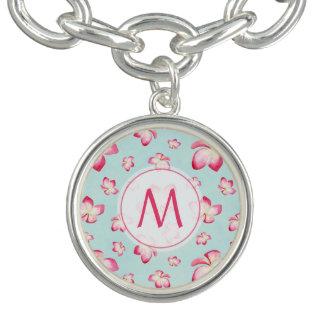 Pink Frangipani Monogram Aqua