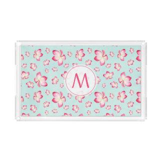 Pink Frangipani Monogram Aqua Acrylic Tray
