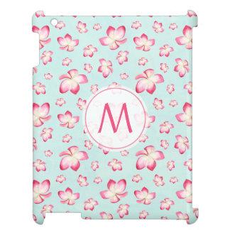Pink Frangipani Monogram Aqua Case For The iPad