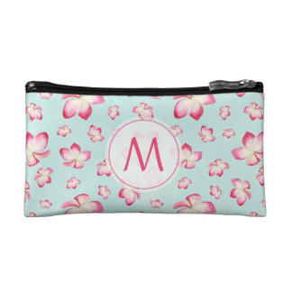 Pink Frangipani Monogram Aqua Makeup Bag