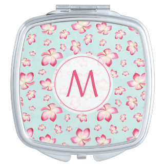 Pink Frangipani Monogram Aqua Vanity Mirror