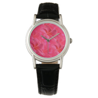 Pink_Frangipani_Passion_Ladies_Black_Leather_Watch Watch