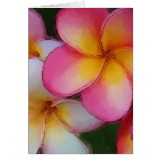 Pink Frangipani Plumeria Flowers Card