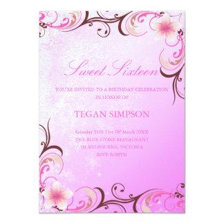 Pink Frangipani Sweet Sixteen Birthday Invite