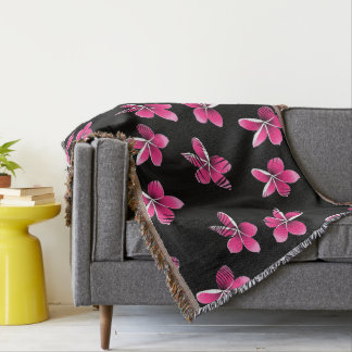 Pink frangipani throw blanket