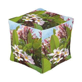 Pink Frangipani Tree, Full Print Cube Pouffe. Pouf
