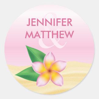 Pink Frangipani Tropical Flower Summer Wedding Classic Round Sticker