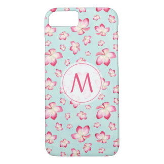 Pink Frangipani Watercolor Monogram iPhone 8/7 Case