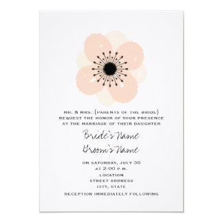 Pink French Anemone Wedding Invitation