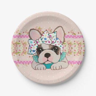 Pink French Bulldog Paper Plates
