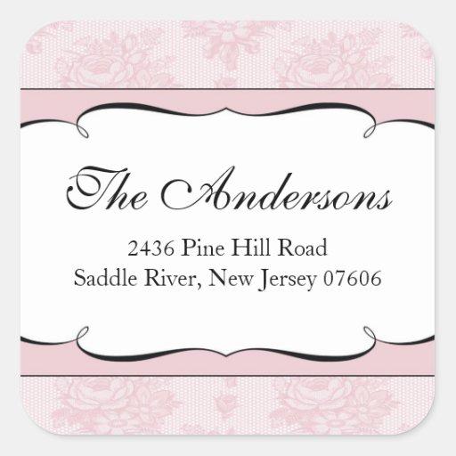 Pink French Lace Address Wedding Square Sticker