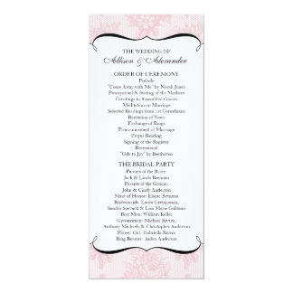 Pink French Lace Wedding Program Personalized Invites