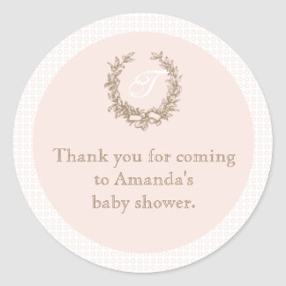 Pink French Monogram Baby Shower Favour Sticker