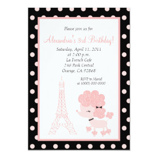 PINK FRENCH POODLE Ooh la la 5x7 Birthday Card