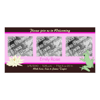 Pink Frog and Lotus Birth Announcements Photo Cards