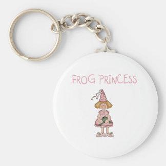 Pink Frog Princess Basic Round Button Key Ring