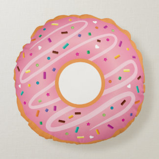 Pink Frosted and Chocolate Doughnut with Sprinkles Round Cushion