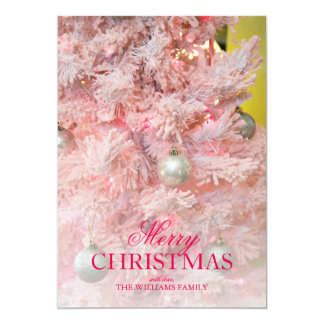 Pink frosted Christmas tree with gold ornaments 13 Cm X 18 Cm Invitation Card