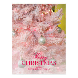 Pink frosted Christmas tree with gold ornaments Postcard