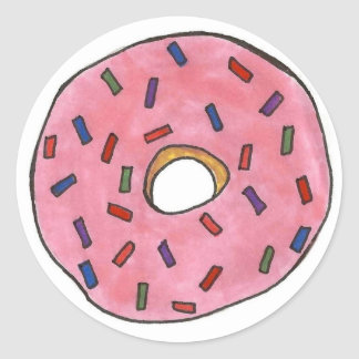 Pink Frosted Donut Doughnut Sprinkles Junk Food Classic Round Sticker